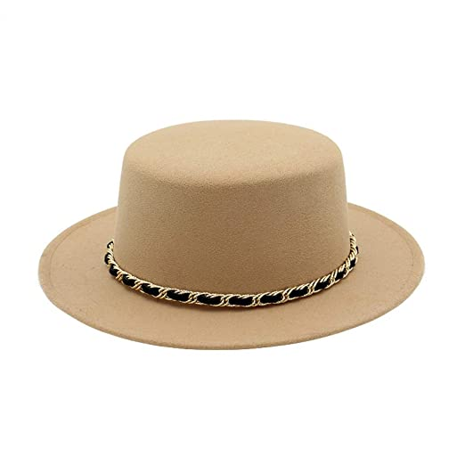 902eaf3bf98 Womens Fedora Hat Wide Brim Wool Felt Flat Top Party Church Trilby Hats Cap  Beige at Amazon Women s Clothing store