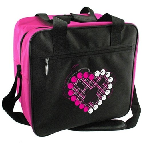 Bowlerstore Heart Single Ball Bowling Bag- Black/Pink ()