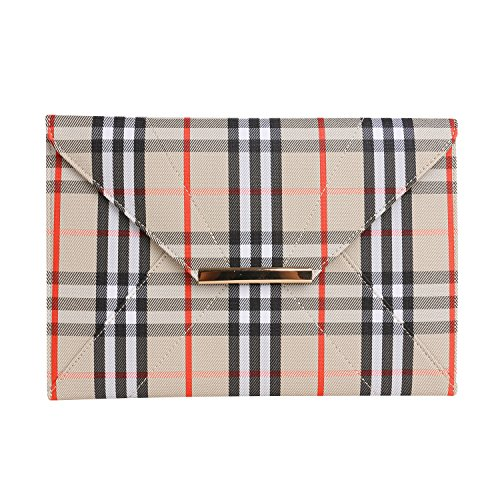 Womens Clutch Purse,Wedding Party Plaid Chain Strap Gold Purses Bags with Pocket Unique Elegant Simple Design Evening Bags Chain Crossbody Bags Beige