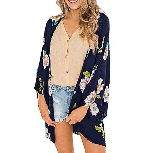 Pretty Cardigan Womens Half Sleeve Chiffon Printing Sandy Beach Smock Tops