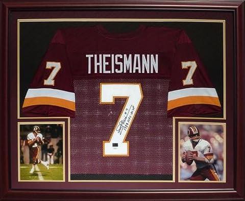 Joe Theismann Autographed Washington Redskins (Red #7) Deluxe Framed Jersey - Deluxe Framed Jersey