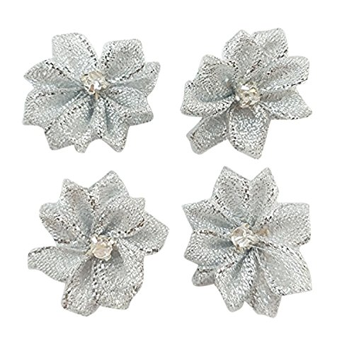 Satin Flower Embellishments (DANDAN DIY Upick More Than 26 Colors 40PCS Satin Ribbon Flowers Bows Rose w/ Rhinestone Appliques Craft Wedding Dec (Silver))