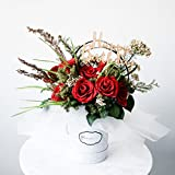 RoseRena Wine Rouge Eternal Roses Bloom Box - Handmade with preserved flower forever roses blossoming for 3 years perfect gift for her