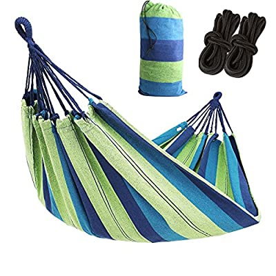 AC Doctor INC Outdoor Leisure Double 2 Person Cotton Hammocks 450lbs Ultralight Camping Hammock with backpack - Dimensions: 110 inch Long x60 inch Wide,Bed Size: 75inch *60Inch Maximum support weight:450 lbs(two person),blue color Durable and comfortable, Lightweight, strong, and easy to assemble - patio-furniture, patio, hammocks - 51 1288suqL. SS400  -
