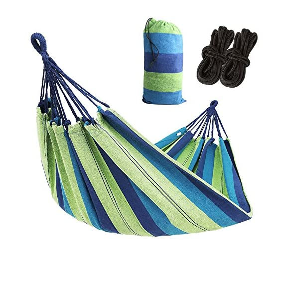 AC Doctor INC Outdoor Leisure Double 2 Person Cotton Hammocks 450lbs Ultralight Camping Hammock with backpack - Dimensions: 110 inch Long x60 inch Wide,Bed Size: 75inch *60Inch Maximum support weight:450 lbs(two person),blue color. Durable and comfortable, Lightweight, strong, and easy to assemble - patio-furniture, patio, hammocks - 51 1288suqL. SS570  -