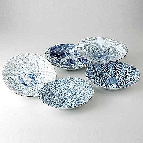 Saikai Pottery Traditional Japanese Ai-e (Ukiyo-e) Indigo Patterns Porcelain Plates (5 Plates Set) 31302 from Japan ()