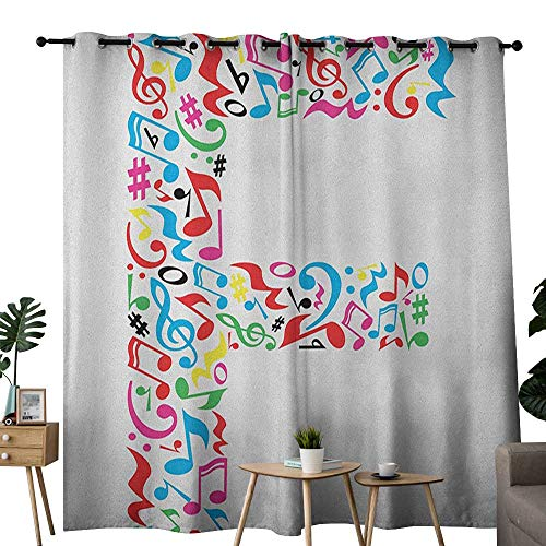 (NUOMANAN Curtains for Bedroom Letter F,Letter F Alphabet with Vibrant Music Notes Harmony Song Design ABC Graphic Print, Multicolor Curtain Panels for Bedroom & Kitchen,1 Pair100)