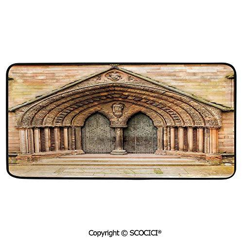 Print Door Mat, Indoor Floor Area Carpet Compatible Bedroom,Living Room,Children, Playroom, Bathroom,Rustic Decor,Medieval Middle Age Cathedral Door Exit with Gothic,39