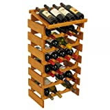 SKB family 28 Bottle Dakota Wine Rack with Shelf, 17.625'' x 34.875'' x 12.875'' x 17 lbs, Medium Oak
