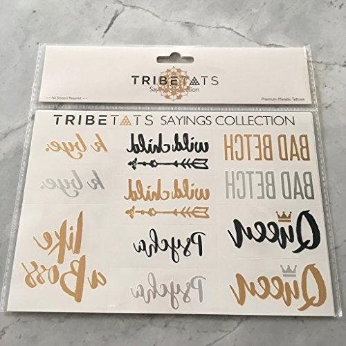 TribeTats Sayings Metallic Temporary Tattoos | Gold, Silver, Rose Gold & Black | Festival Accessories (2-Sheet Variety Set)