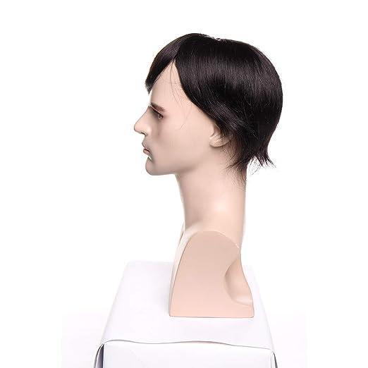 Prótesis Capilar Hombre Pelo Natural 100% Remy Cabello Humano Indio Invisible y Se Adhiere Bien a la Piel Peluquín para Hombre Pelucas Lisas 6