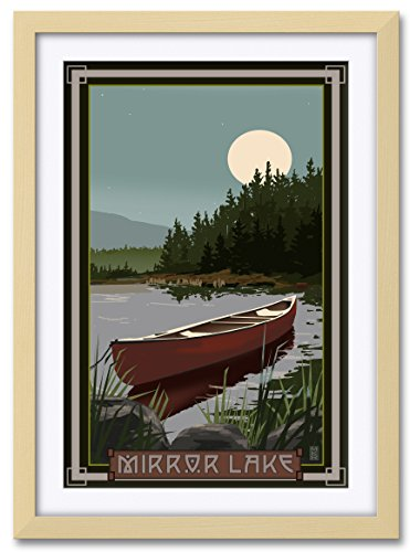 Northwest Art Mall Mirror Lake Canoe In Moonlight Professionally Framed & Matted Extra-large Giclee Art Print by Mike Rangner. Print Size: 30