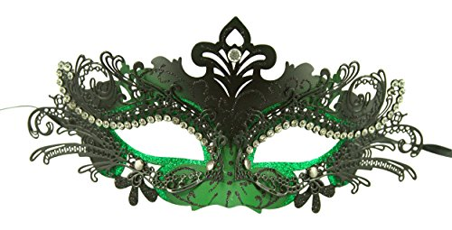 Classic Venetian Style Masquerade Mask (Black/Green) ()