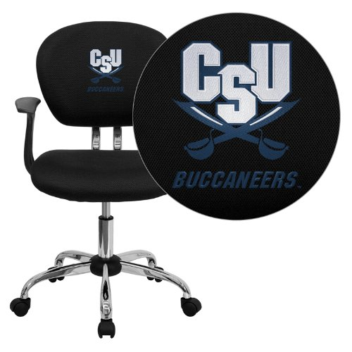 Flash Furniture Charleston Southern University Buccaneers Embroidered Black Mesh Task Chair with Arms and Chrome Base ()