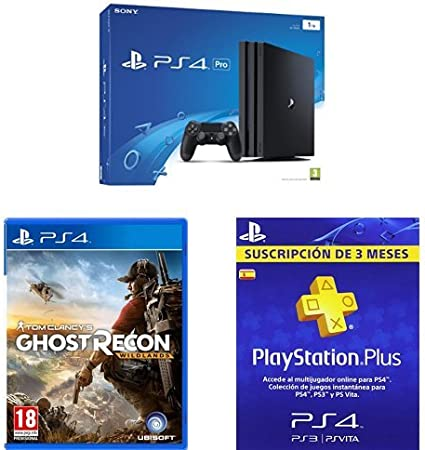PlayStation 4 Pro (PS4) - Consola de 1 TB + Ghost Recon Wildlands + PSN Plus Tarjeta 90 Días: Amazon.es: Videojuegos