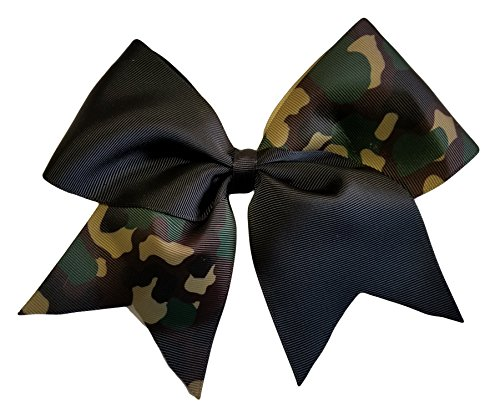 (Cheer Bows Black Camo Camouflage Military Support Hair Bow)