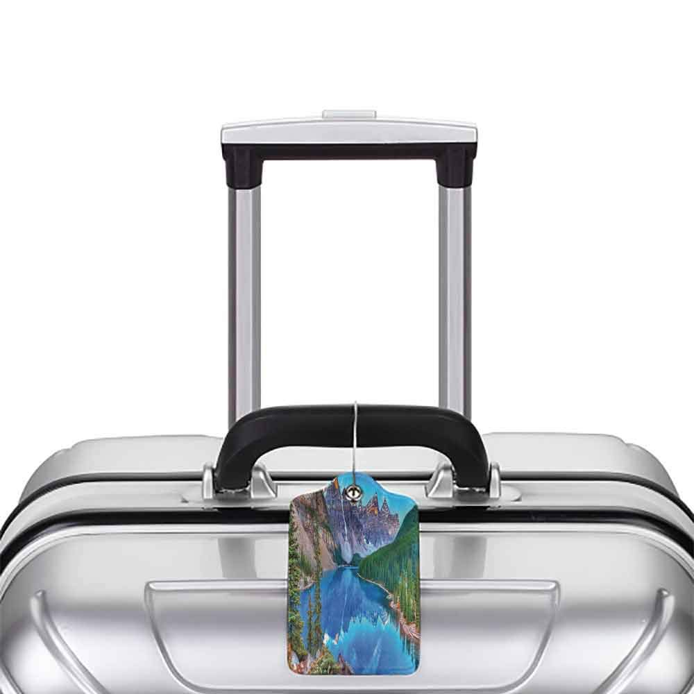 Waterproof luggage tag Lake House Decor Collection Moraine Lake Sunrise in Banff National Park Clear Sky Reflection Colorful Picture Soft to the touch Blue Green W2.7 x L4.6