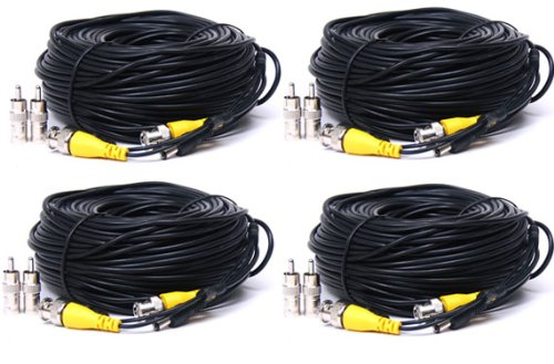 Security Camera Cables And Connectors : Videosecu pack feet video power cctv security camera