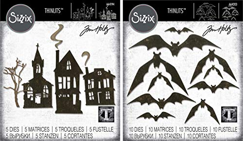 Tim Holtz Sizzix Thinlits 2019 Halloween Dies - Ghost Town and Bat Crazy - 2 Items]()
