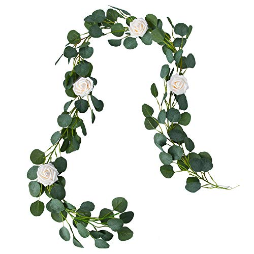 Belle Fleur Faux Eucalyptus Garland 6FT, 147Pcs Leaves with 4Pcs Rose Flowers, Garland Greenery for Wedding Backdrop Table Runner Decor -