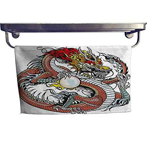 alisoso Dragon Beach Towels Traditional Chinese Creature Holding A Large Pearl Zodiac Signs Folk Tattoo GraphicMulticolor Towel W 14