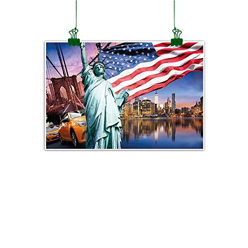 J Chief Sky Wall Art United States,USA Touristic Concept Collection Statue of Liberty NYC Cityscape Flag Cars,Multicolor Abstract Art W 47