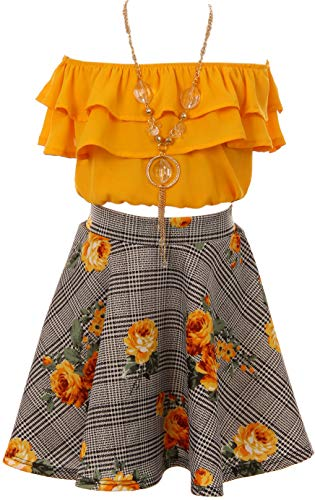 Cold Shoulder Crop Top Ruffle Layered Top Flower Girl Skirt Sets for Big Girl Mango 12 JKS 2130S -