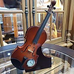 Nazar Gallery 9 Wooden Miniature Violin Desk Clock. Home Decor Office Decor Gift Collectible