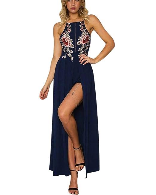 Moda Mujer Imprimir Floral Retro Palacio Vestido De Fiesta Vestido Bohemia Vestido Largo Aberturas Azul S