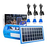 Solar Lighting System Protable DC Home SystemLight Kit Multifuncation Solar Generator with Solar Panel 3 LED Light Bulb and 2 USB Charger Ports for Mobile Phone Power Bank (Blue)