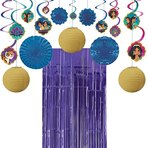 Party City Aladdin Decorating Party Supplies, Includes Swirl Decorations, Paper Lanterns and Fans, and Doorway Curtain -