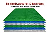 "Upgrade Stackable Building Base Plates- Baseplate 10"" x 10"" in Variety Color, Compatible with all Major Brands (6PC Mixed)"