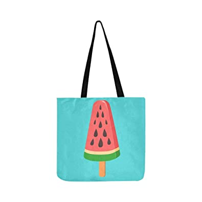 a00c6e25c613 Amazon.com: Watermelon Ice-cream On A Stick Canvas Tote Handbag ...