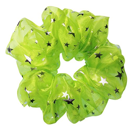 - Crystal Organza Tutu Scrunchies Ponytail Holders Many Colors Scrunchie King Made in the USA (neon green metallic star)