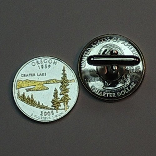 Oregon Statehood Quarter - Gorgeous 2 Toned(Uniquely Hand Done) Gold on Silver coin cufflinks for men - men's jewelry men's accessories for him groomsmen by J&J Coin Jewelry