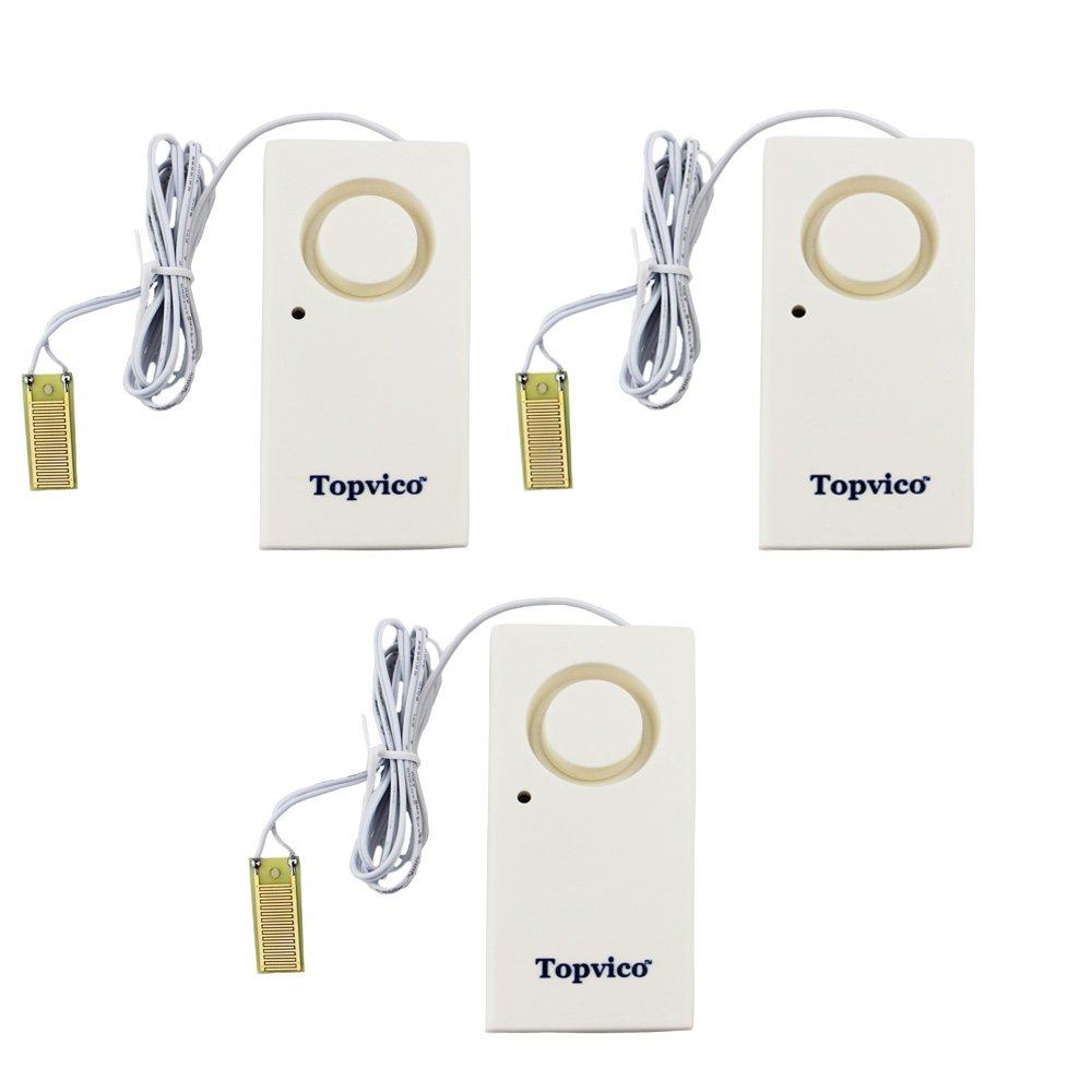 Topvico Flood Alarm Water Leak Sensor Detector 130dB Work Alone Home Security 3 Pack