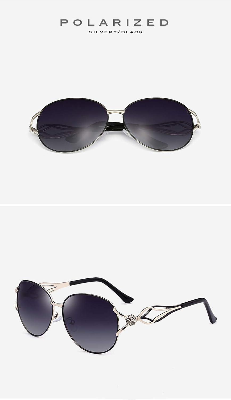 Fashion Diamond Metal Big Frame UV400 Protect Glasses,Lightweight Women Driving Outdoor Glasses,D Polarised Sunglasses