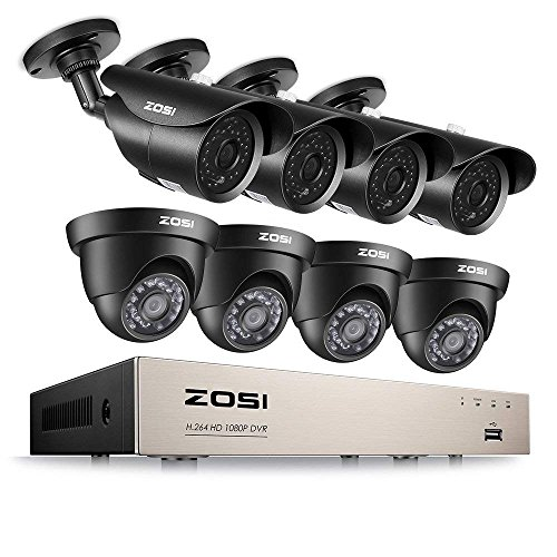 ZOSI 8CH 1080P Security Camera System HD-TVI Video DVR Recorder with (8) 2.0MP Bullet and Dome Weatherproof CCTV Cameras,Day&Night Vision,Motion Alert, Smartphone, PC Remote Access -  8FN-231X418B4-00
