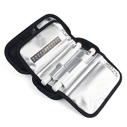 Insulin Cooler Bag Diabetic Organizer Medical Travel Cooler Pack with 3 Ice Pack (Black) by PlasMaller (Image #7)