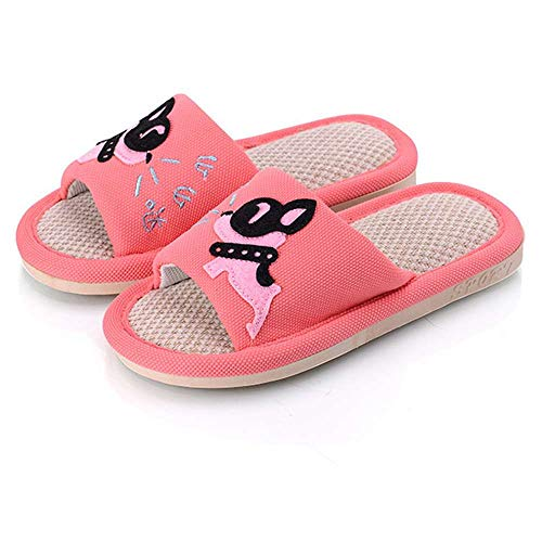 - Girls Boys House Slippers Dog Cute Open Toe Puppy Flax Comfort Indoor Outdoor