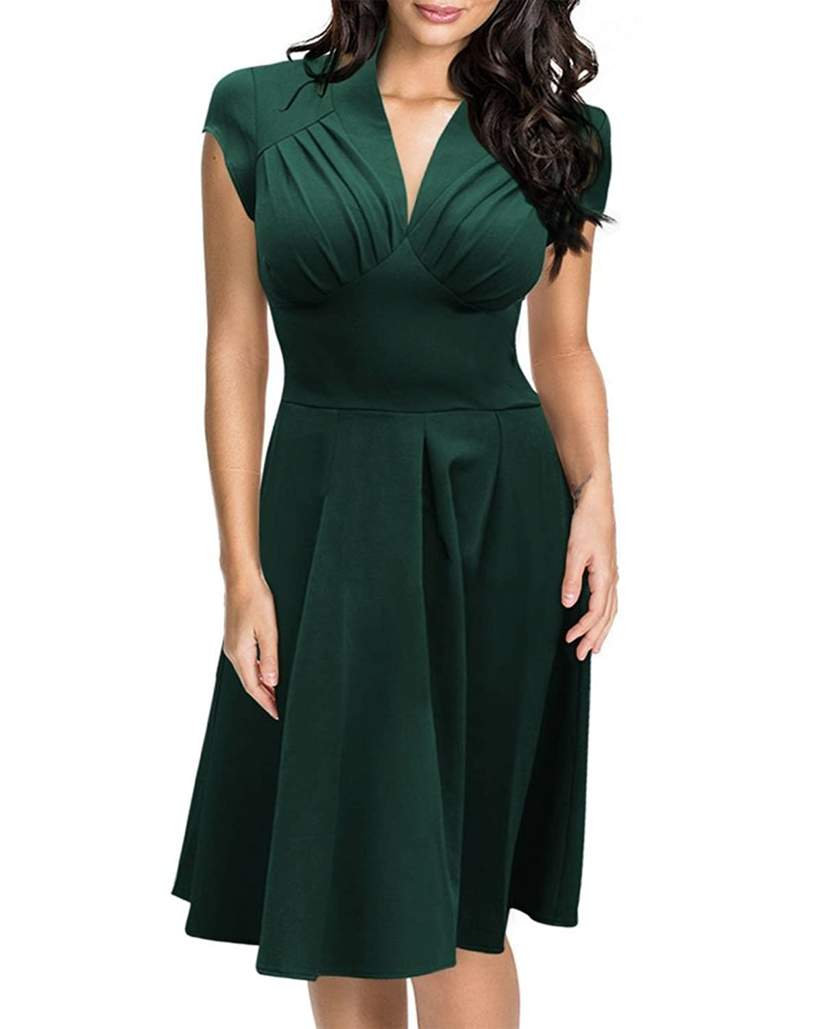 factory price d5df3 d0bd6 50%OFF Whoinshop Damen Elegant Vintage 50er Jahre Kleid 3/4 ...