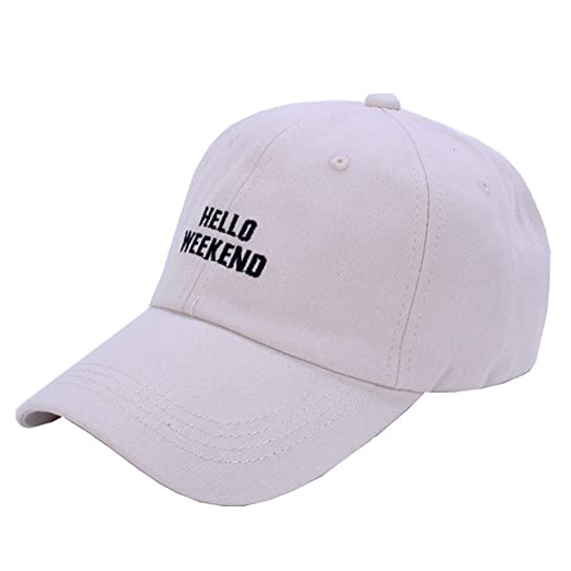 374e7a851ea13 FGSS Unisex Hello-Weekend Embroidered Baseball-Caps Unstructured Dad Hat  Adjustable Beige