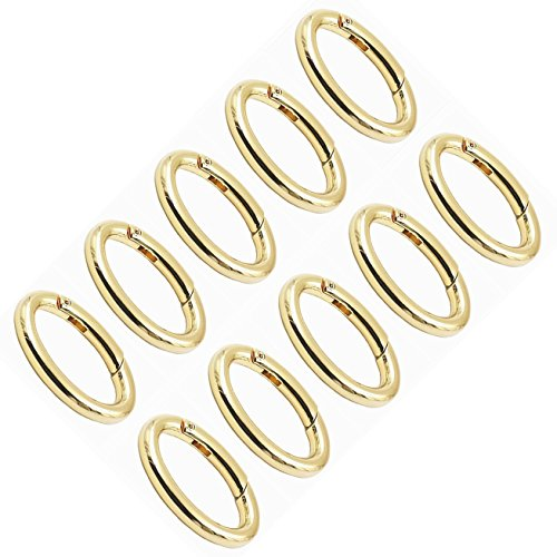 WEICHUAN 10PCS Zinc Alloy Oval Spring Clip Carabiner - Gate Oval Ring Carabiner Snap Clip Trigger Spring Keyring Buckle, Organizing Accessory/Metal Secure Holder/Durable and Rust-Proof (Gold)
