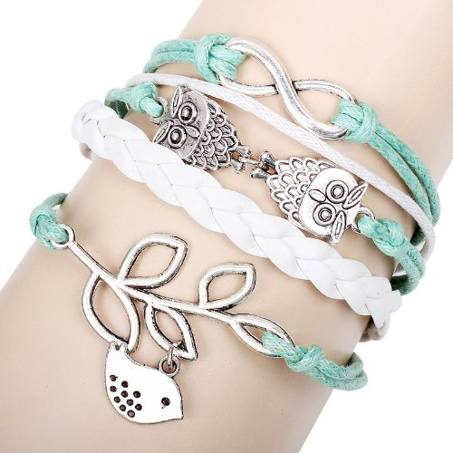 Summer Love Birds and Owls Charm Wrap Bracelet / Bangle - Minit Green and White (One Direction Phone Charm compare prices)