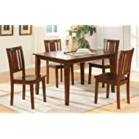 Poundex 5 Piece Chic Modern Dark Cherry Finish Dining Set Contemporary