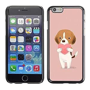 PC/Aluminum Funda Carcasa protectora para Apple Iphone 6 heart pink peach drawing cute valentine / JUSTGO PHONE PROTECTOR
