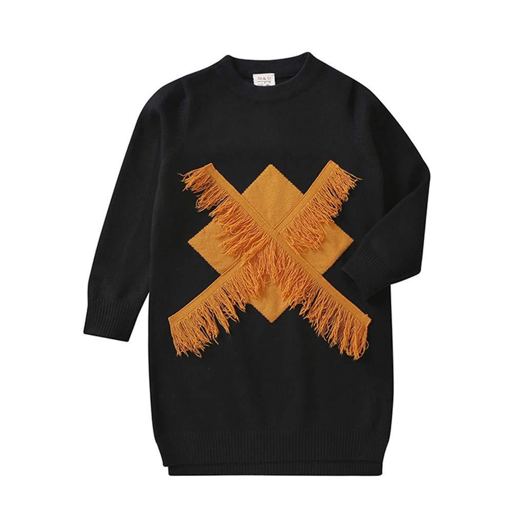 Toddler Kids Girl Sweater Tassels Long Sleeves Long Pullover Sweater Dress Outwear Blouse Children Clothes
