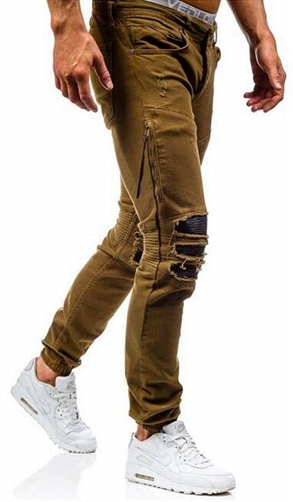 MMCP Mens Casual Low Rise Ripped Destroyed Washed Slim Fit Jeans Denim Pants