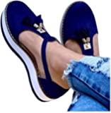 AOMO LOVE Womens Tassel Leather Platform Sandal Closed Toe Buckle Shoes Ankle Strap Heeled Mary Jane Shoes