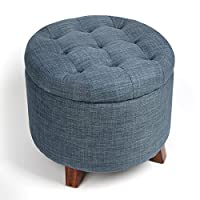 Generic Round Footstool Storage Ottoman with Button Tufted Top Blue